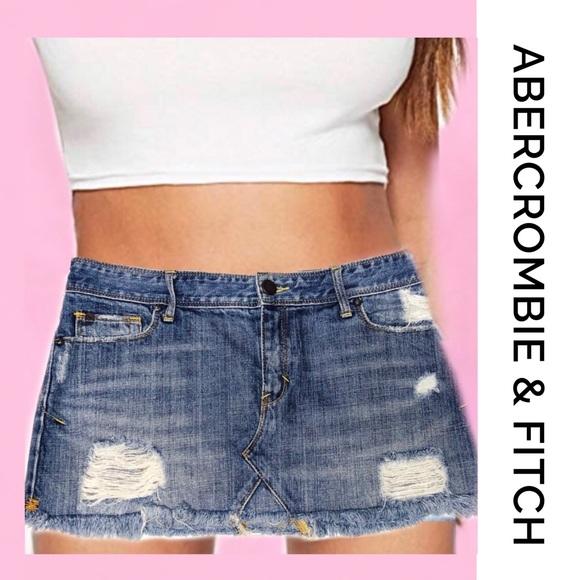 Abercrombie & Fitch Dresses & Skirts - ABERCROMBIE Distressed Mini Denim Skirt 6
